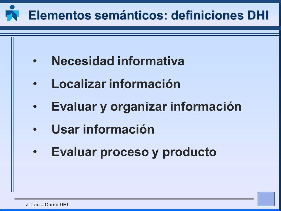 Elementos semánticos: definiciones DHI