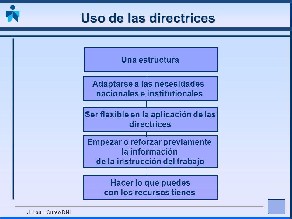 Uso de las directrices Una estructura Adaptarse a las necesidades