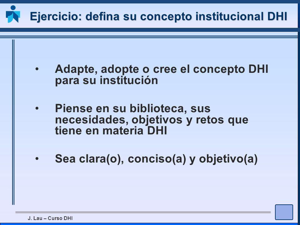 Ejercicio: defina su concepto institucional DHI