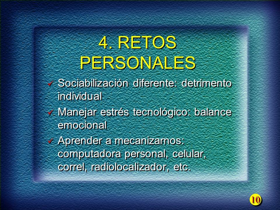 4. RETOS PERSONALES Sociabilización diferente: detrimento individual