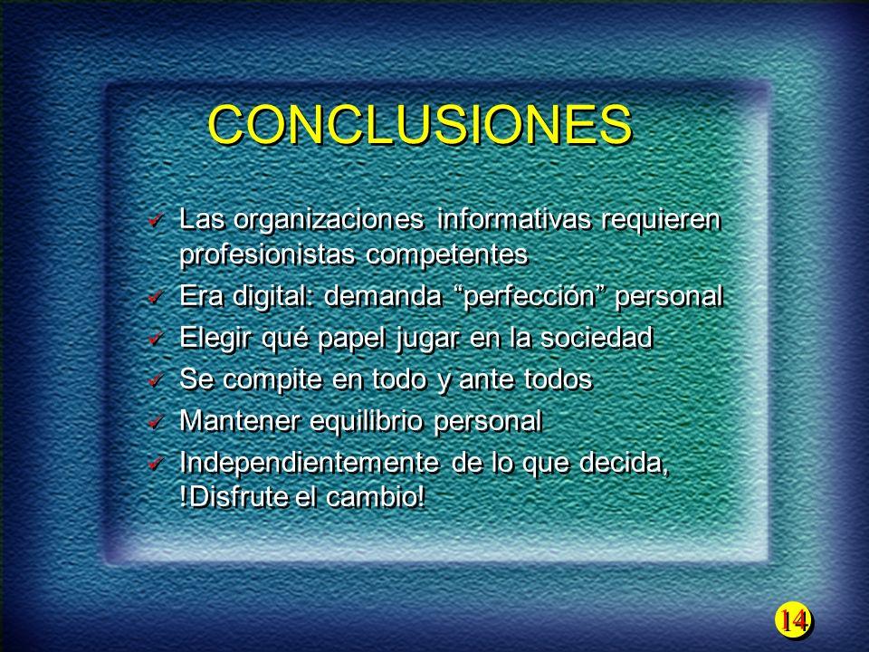CONCLUSIONES Las organizaciones informativas requieren profesionistas competentes. Era digital: demanda perfección personal.
