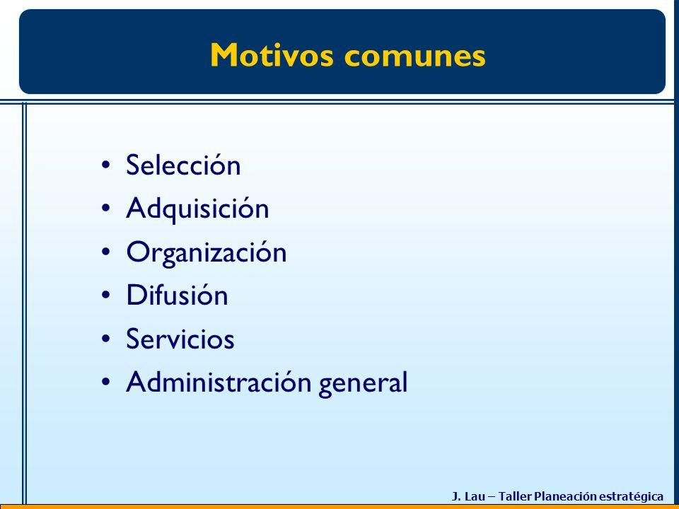 Motivos comunes Selección Adquisición Organización Difusión Servicios