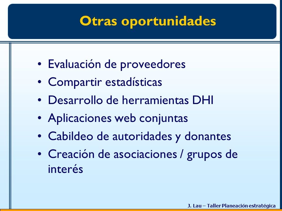 Otras oportunidades Evaluación de proveedores Compartir estadísticas