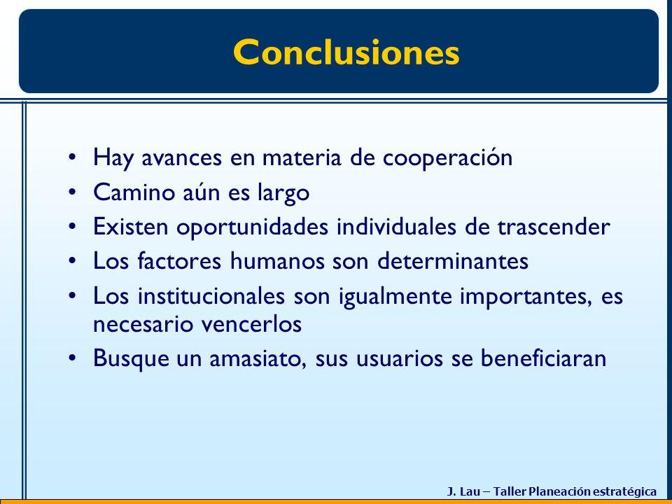 Conclusiones Hay avances en materia de cooperación Camino aún es largo