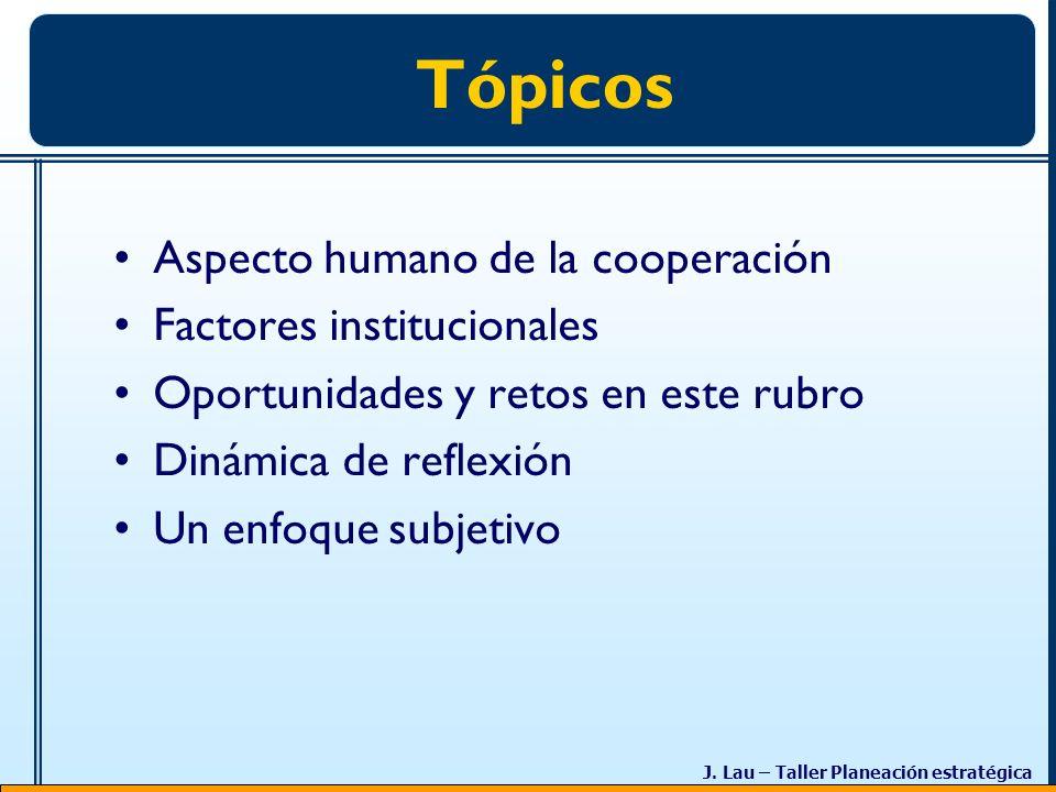 Tópicos Aspecto humano de la cooperación Factores institucionales