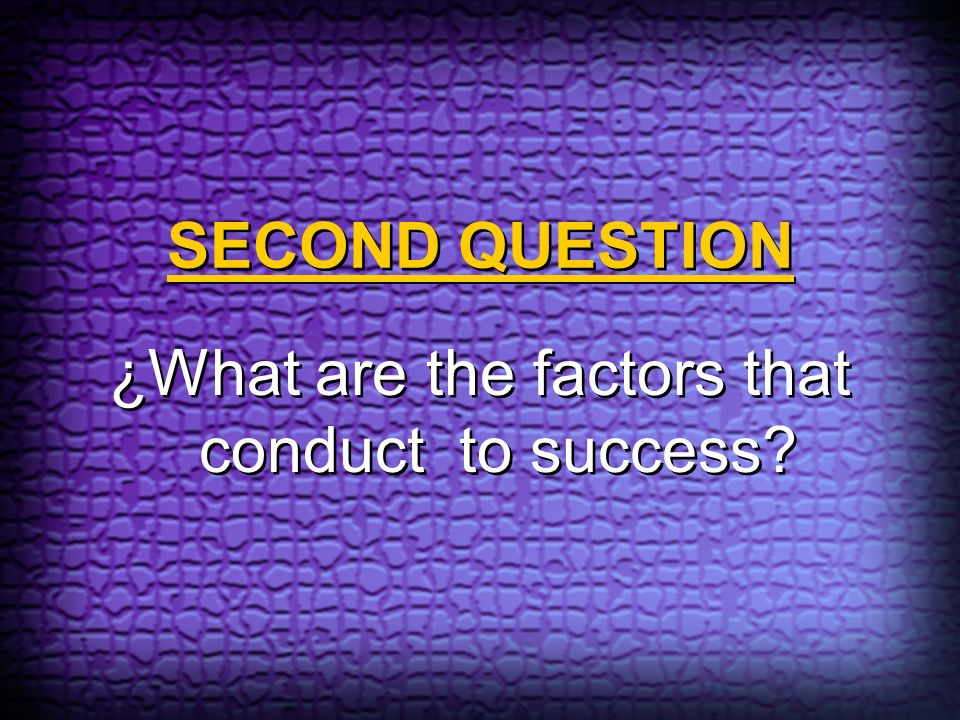 ¿What are the factors that conduct to success