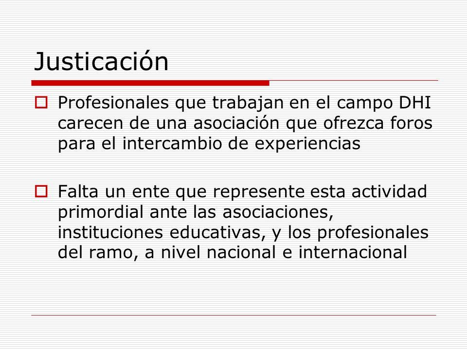 JusticaciónProfesionales que trabajan en el campo DHI carecen de una asociación que ofrezca foros para el intercambio de experiencias.