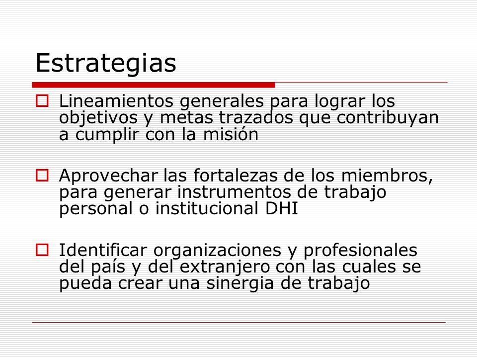 EstrategiasLineamientos generales para lograr los objetivos y metas trazados que contribuyan a cumplir con la misión.