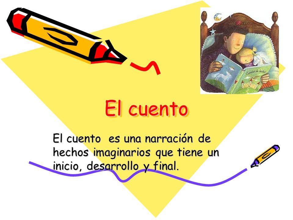 El cuento El cuento es una narración de hechos imaginarios que tiene un inicio, desarrollo y final.