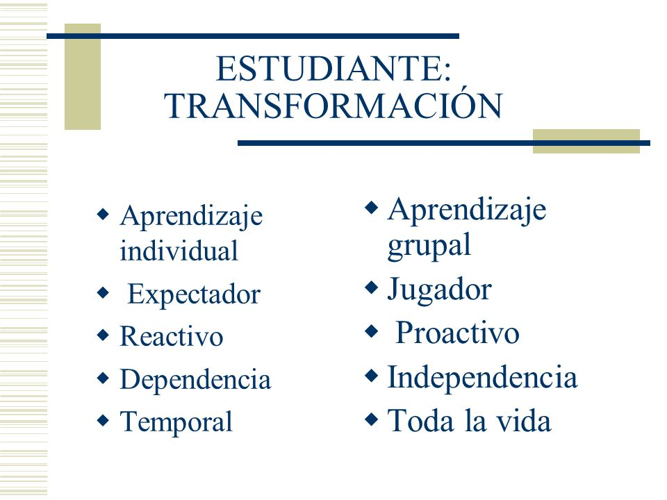 ESTUDIANTE: TRANSFORMACIÓN