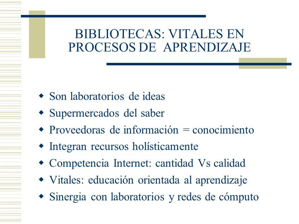 BIBLIOTECAS: VITALES EN PROCESOS DE APRENDIZAJE