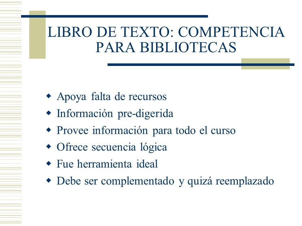 LIBRO DE TEXTO: COMPETENCIA PARA BIBLIOTECAS