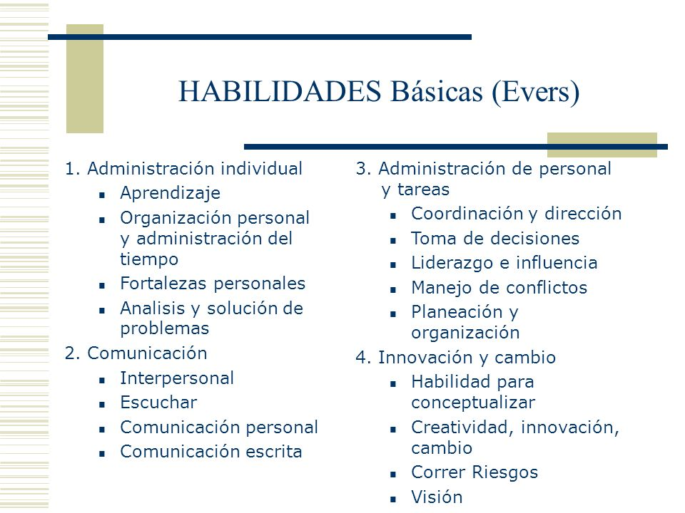 HABILIDADES Básicas (Evers)