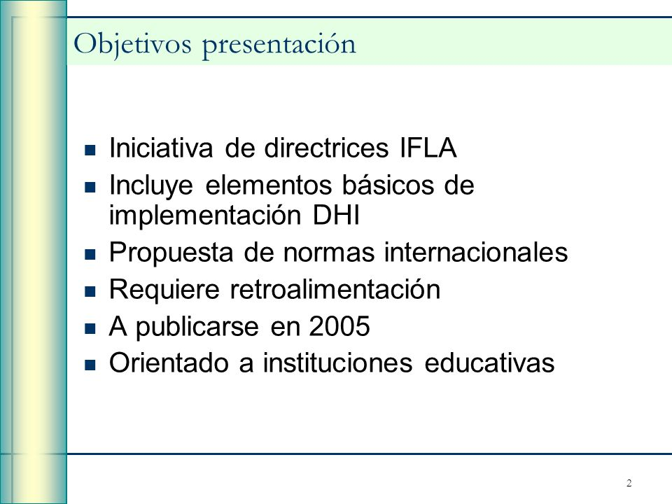 Objetivos presentación