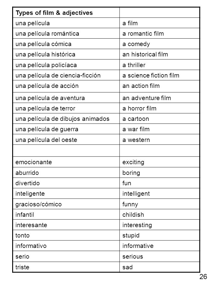 26 Types of film & adjectives una película a film