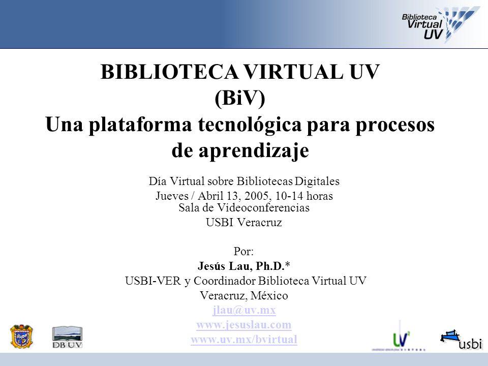 BIBLIOTECA VIRTUAL UV (BiV) Una plataforma tecnológica para procesos de aprendizaje