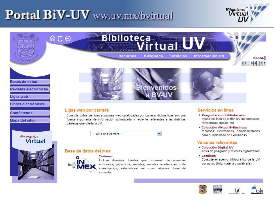 Portal BiV-UV ww.uv.mx/bvirtual