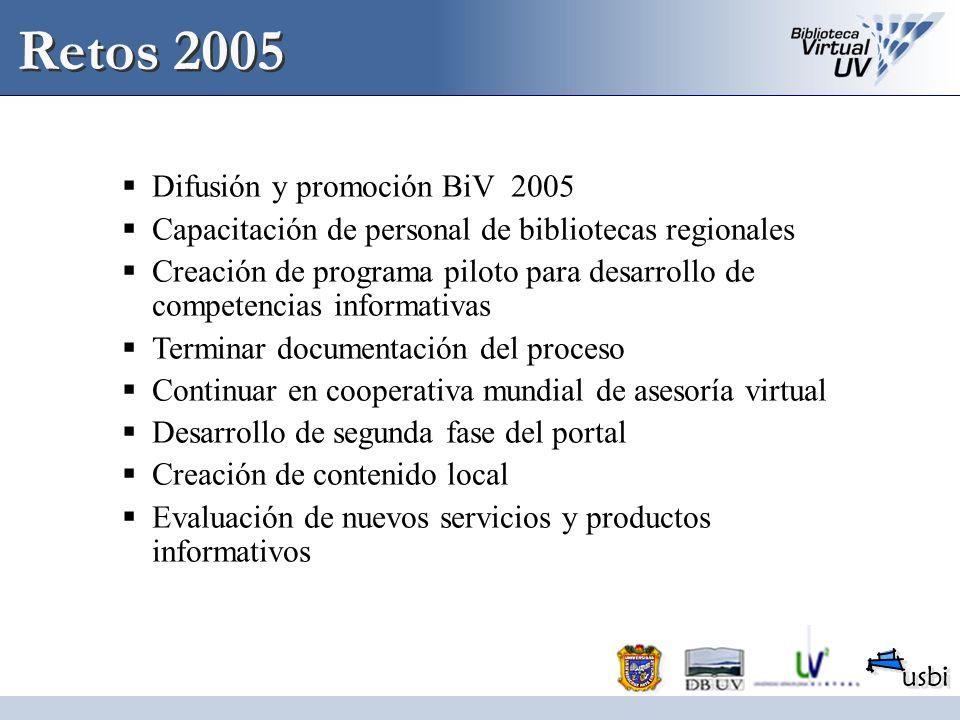 Retos 2005 Difusión y promoción BiV 2005