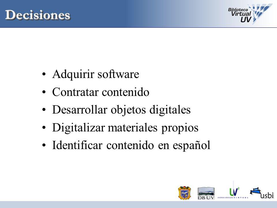 Decisiones Adquirir software Contratar contenido