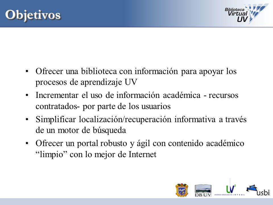 ObjetivosOfrecer una biblioteca con información para apoyar los procesos de aprendizaje UV.