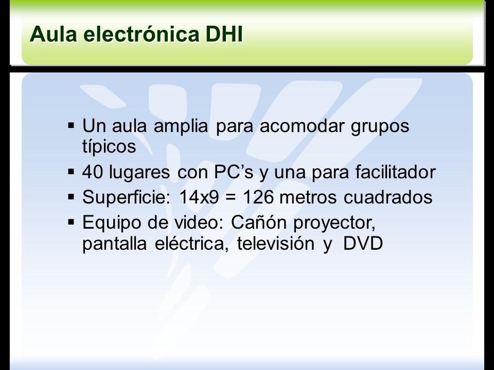 Aula electrónica DHI Un aula amplia para acomodar grupos típicos