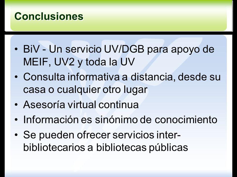 Conclusiones BiV - Un servicio UV/DGB para apoyo de MEIF, UV2 y toda la UV. Consulta informativa a distancia, desde su casa o cualquier otro lugar.