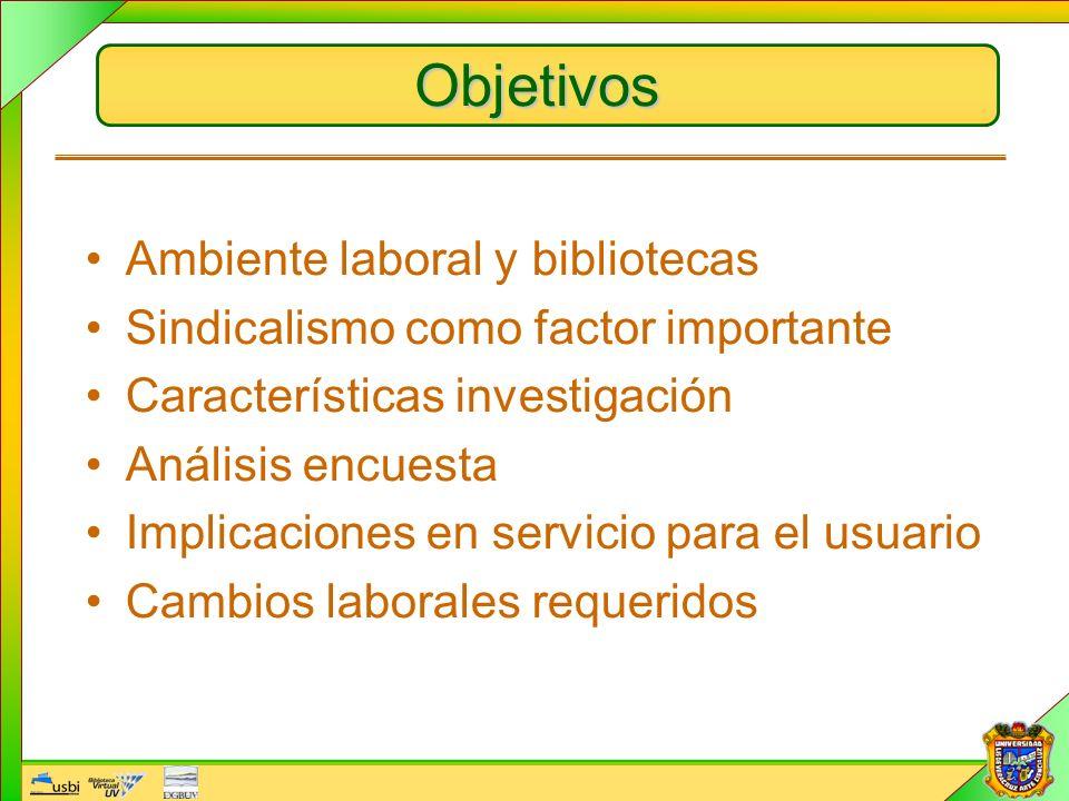 Objetivos Ambiente laboral y bibliotecas