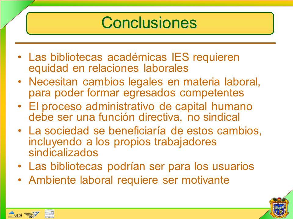 Conclusiones Las bibliotecas académicas IES requieren equidad en relaciones laborales.