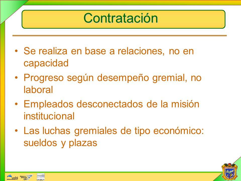 Contratación Se realiza en base a relaciones, no en capacidad