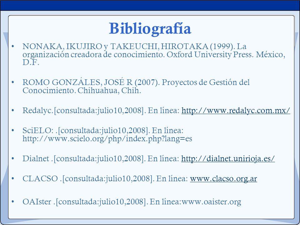 Bibliografía NONAKA, IKUJIRO y TAKEUCHI, HIROTAKA (1999). La organización creadora de conocimiento. Oxford University Press. México, D.F.