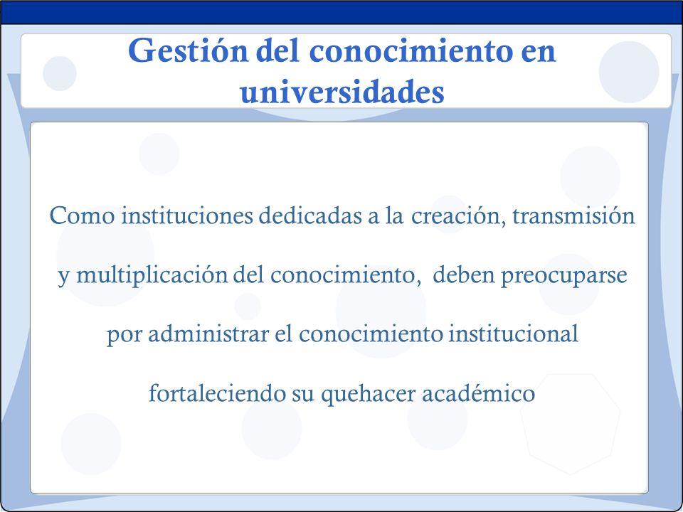 Gestión del conocimiento en universidades