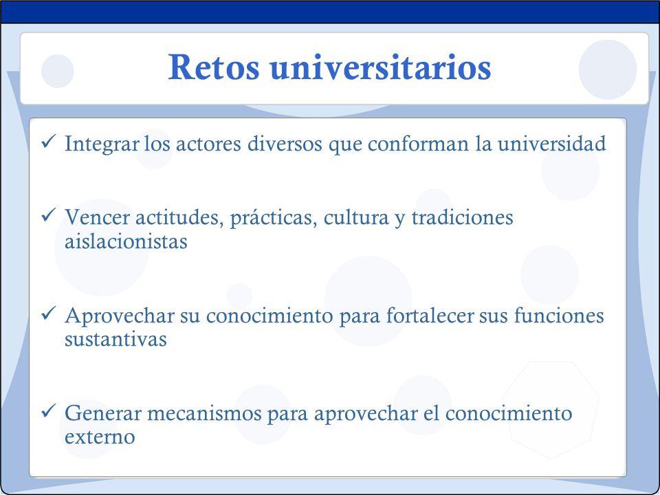 Retos universitarios Integrar los actores diversos que conforman la universidad. Vencer actitudes, prácticas, cultura y tradiciones aislacionistas.