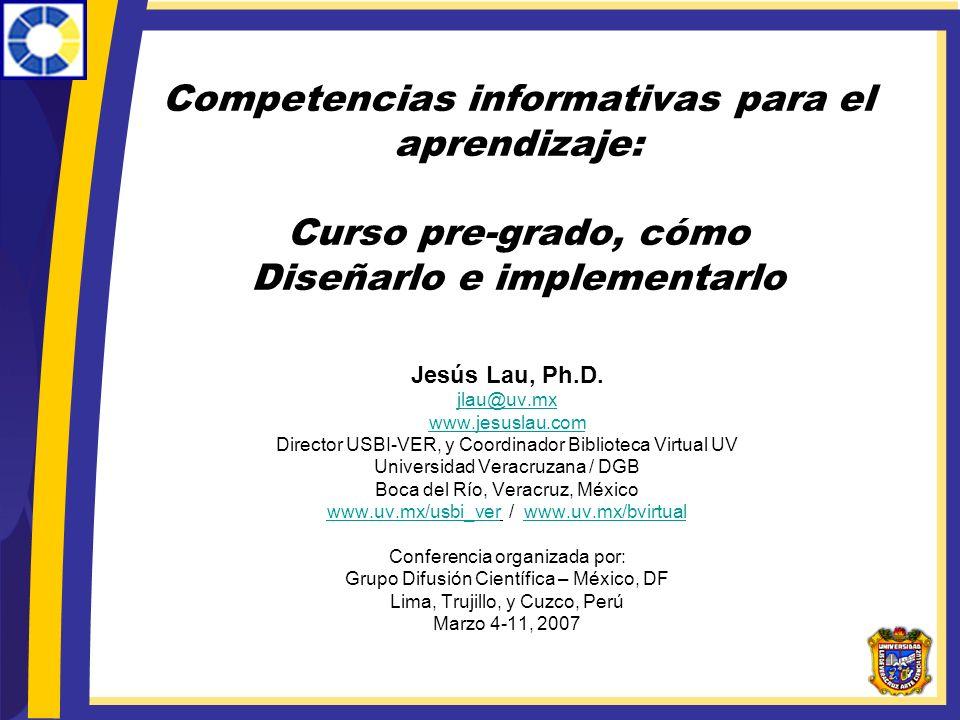 Competencias informativas para el aprendizaje: Curso pre-grado, cómo Diseñarlo e implementarlo