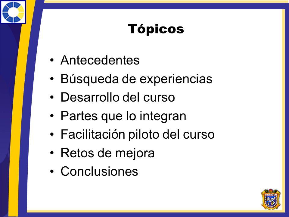 Tópicos Antecedentes. Búsqueda de experiencias. Desarrollo del curso. Partes que lo integran. Facilitación piloto del curso.