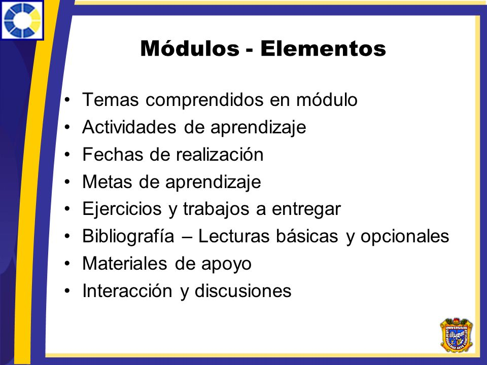 Módulos - Elementos Temas comprendidos en módulo