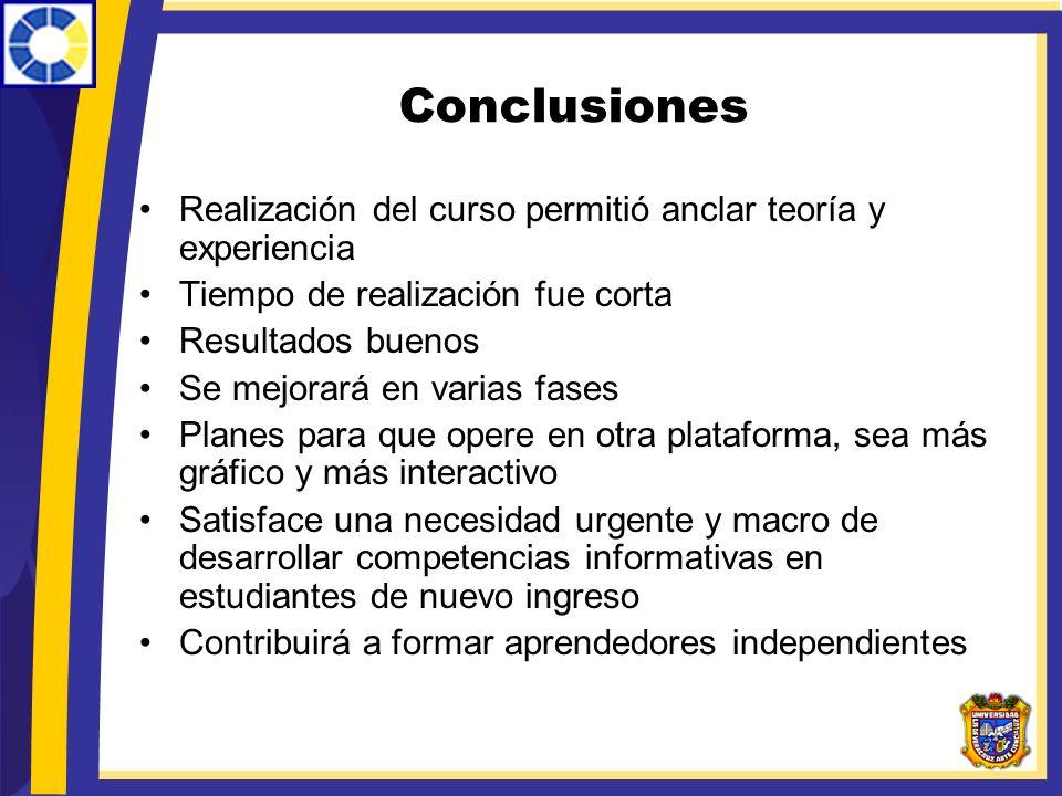 Conclusiones Realización del curso permitió anclar teoría y experiencia. Tiempo de realización fue corta.