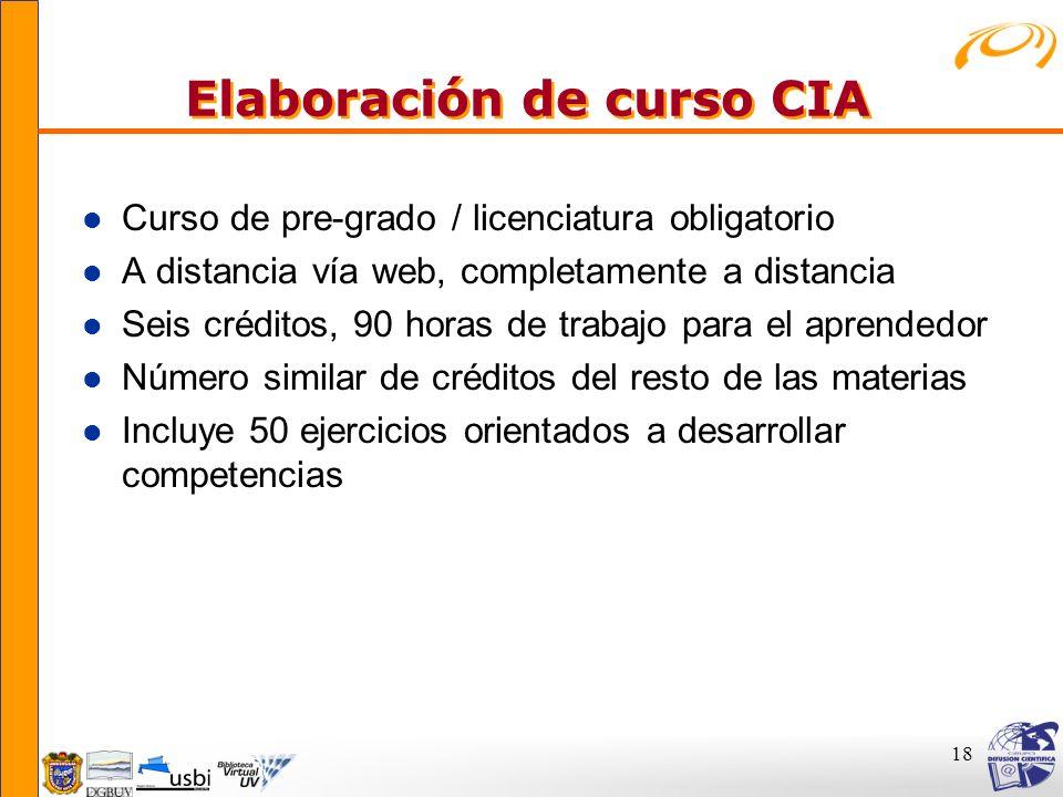 Elaboración de curso CIA