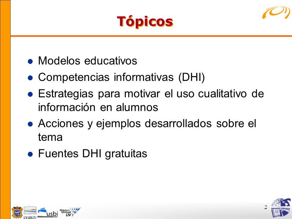 Tópicos Modelos educativos Competencias informativas (DHI)