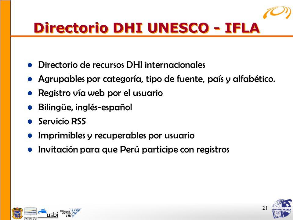 Directorio DHI UNESCO - IFLA