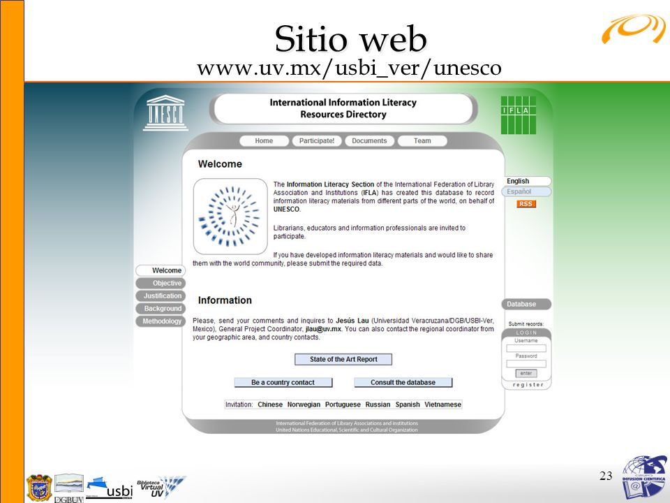 Sitio web www.uv.mx/usbi_ver/unesco