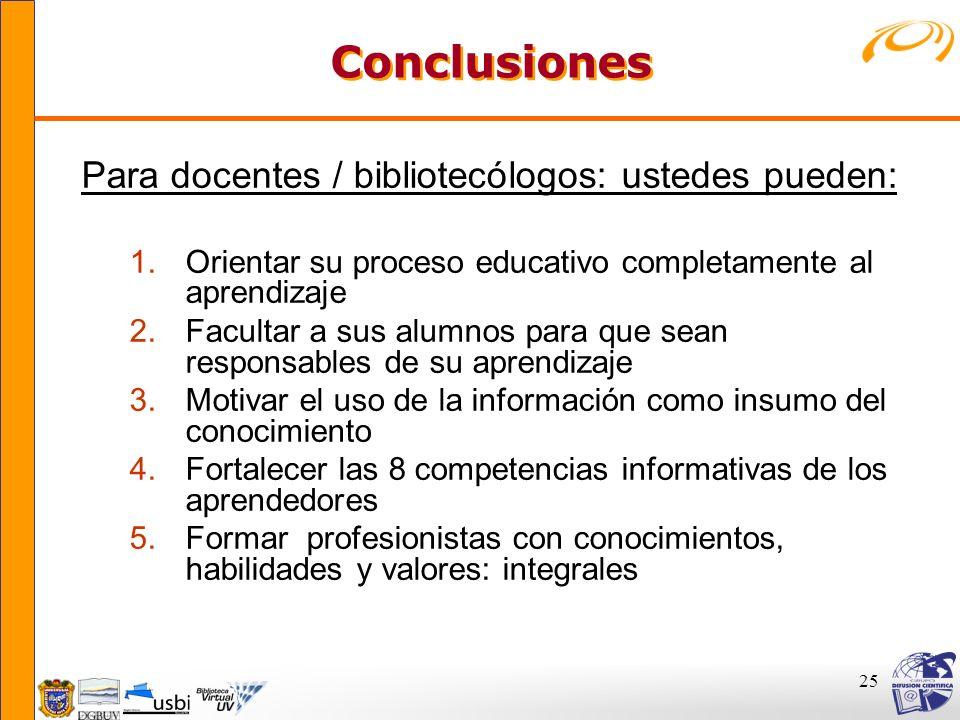 Conclusiones Para docentes / bibliotecólogos: ustedes pueden: