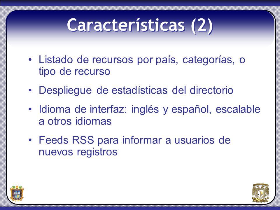Características (2) Listado de recursos por país, categorías, o tipo de recurso. Despliegue de estadísticas del directorio.