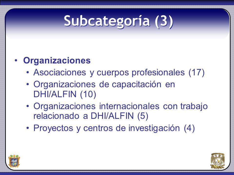 Subcategoría (3) Organizaciones