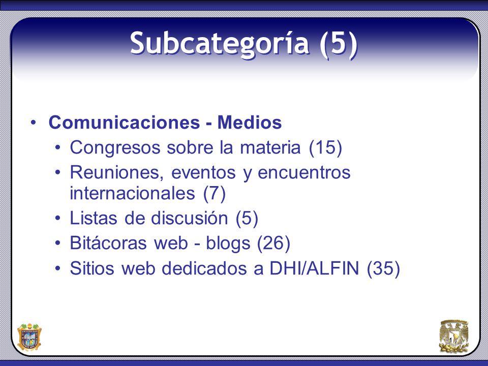 Subcategoría (5) Comunicaciones - Medios