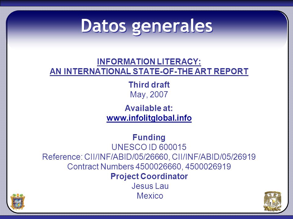 INFORMATION LITERACY: AN INTERNATIONAL STATE-OF-THE ART REPORT