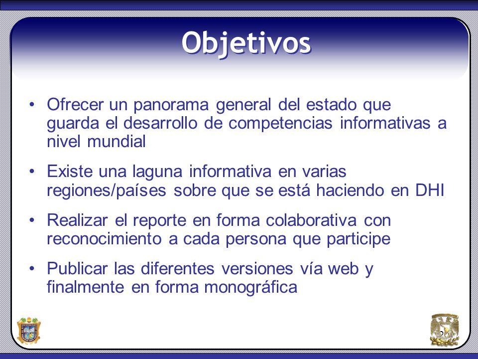 Objetivos Ofrecer un panorama general del estado que guarda el desarrollo de competencias informativas a nivel mundial.