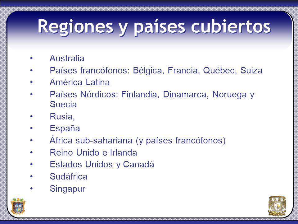 Regiones y países cubiertos