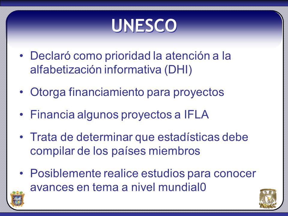 UNESCO Declaró como prioridad la atención a la alfabetización informativa (DHI) Otorga financiamiento para proyectos.