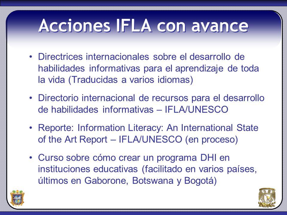 Acciones IFLA con avance