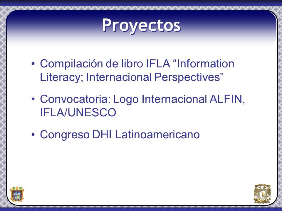 Proyectos Compilación de libro IFLA Information Literacy; Internacional Perspectives Convocatoria: Logo Internacional ALFIN, IFLA/UNESCO.